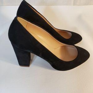 J crew olive suede pumps black heels 8 b Italy